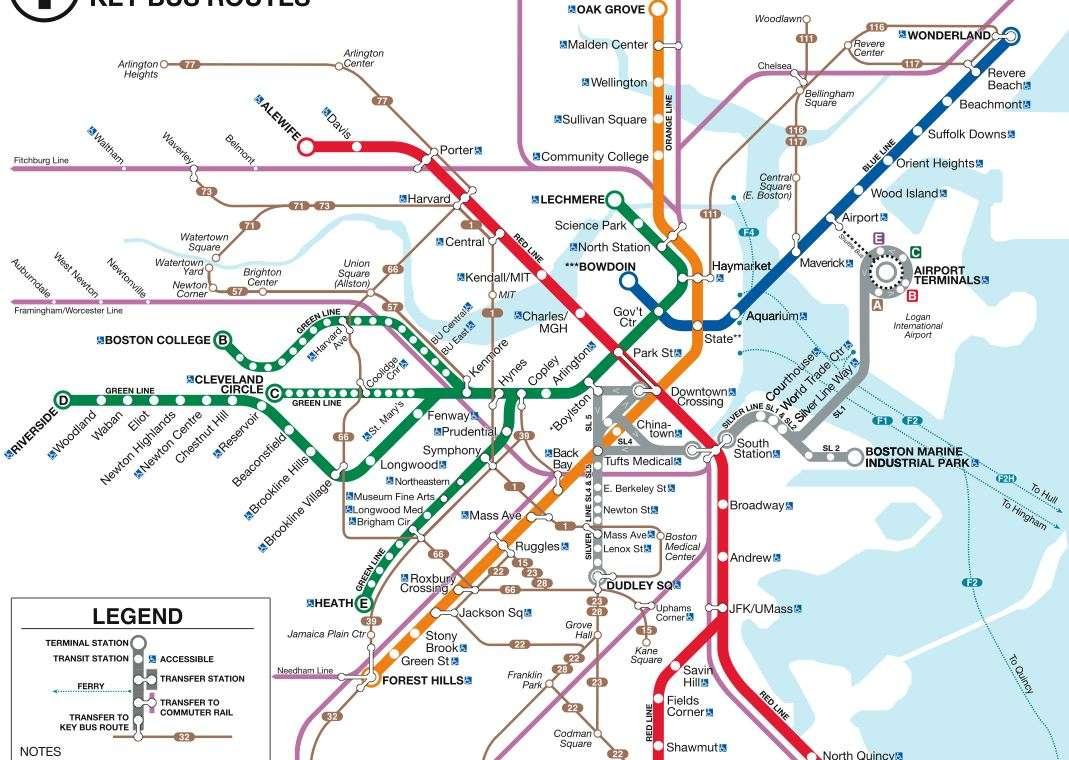 Subway Map In Boston.New T Map Archboston Org